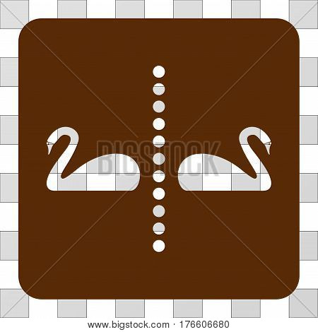 Separate Swans interface icon. Vector pictogram style is a flat symbol hole centered in a rounded square shape, brown color.