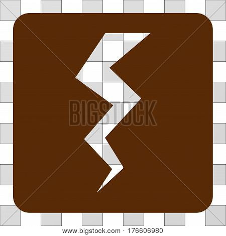 Thunder Crack interface icon. Vector pictogram style is a flat symbol hole inside a rounded square shape, brown color.