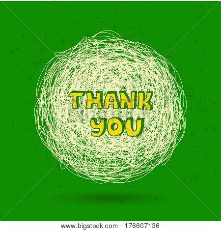 Thank you card. Thank you speech bubble.