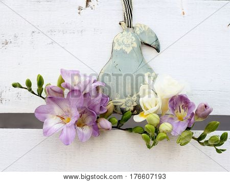 shabby chic metal pear decoration with scented freesia
