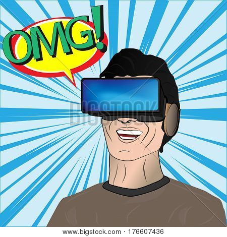 Man in glasses virtual reality. Omg effect. Comic background.