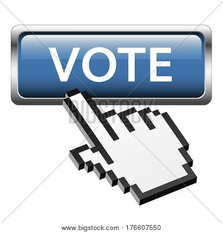 Button With 3D Pixel Graphic Hand Vote