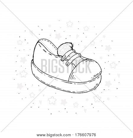 Vector Sketch Illustration Pair of Skaters Shoes.