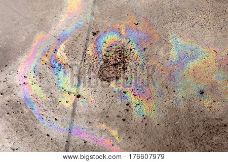 Spilled Oil on Ground, pollution  rainbow effect