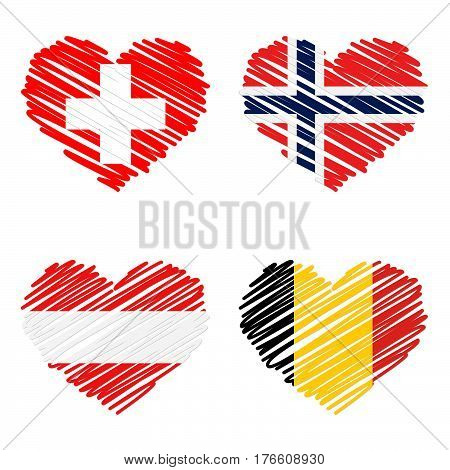 Collection Of Line Drawing Hearts - Country Flags
