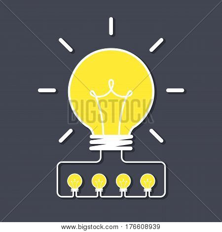 big idea concept, creative idea, business brainstorm concept, share idea concept with light bulb, creative design, vector illustration