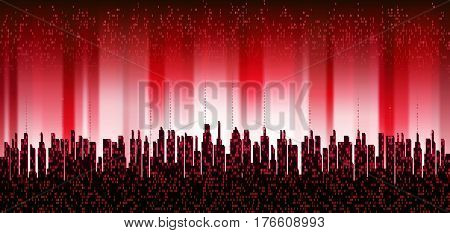 The city online. Abstract futuristic digital city, skyline  background. Network digital technology concept, cloud service
