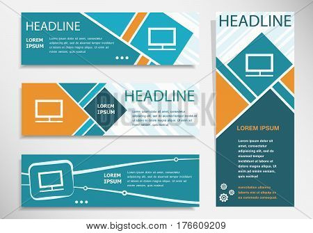 Monitor Icon On Horizontal And Vertical Banner. Modern Banner Design Template.