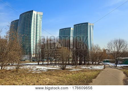 MOSCOW/ RUSSIA - MARCH 12, 2017. The construction of a modern residential complex Fleet (Russian: Flotiliya) near the Park of Friendship . The Khovrino District, Moscow, Russia.