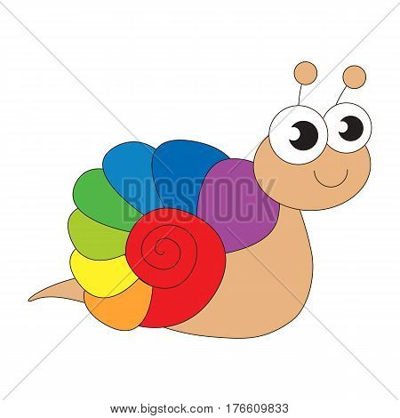 Rainbow snail cartoon. Outlined character with black stroke.