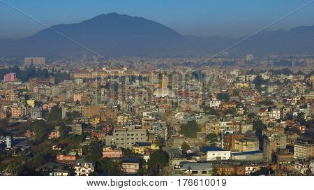 Aerial image of the dense populated city Kathmandu.