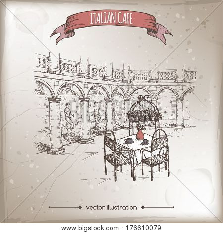 Vintage travel illustration with Italian street cafe. Hand drawn sketch. Great for coffee, restaurant, cafe ads, travel brochures, labels.