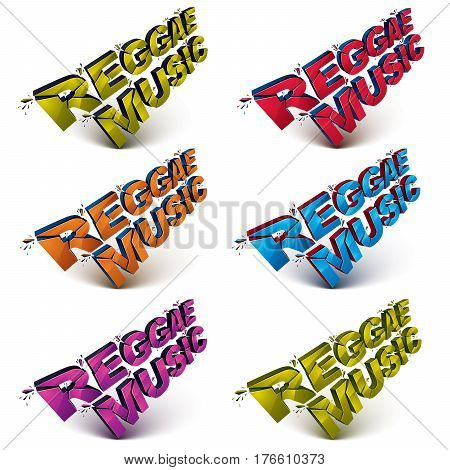 Collection of 3d reggae music word broken into pieces demolished vector design elements. Shattered art stylish inscription in different colors