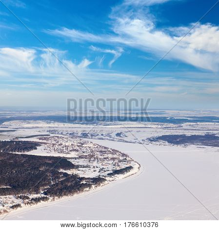 Kama river in Tatarstan, Russia during winter day. Captured from above with a drone.