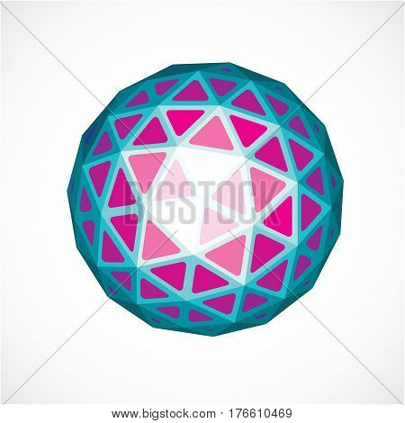 Dimensional Vector Purple Low Poly Object, Trigonometry Shape. Technology 3D Spherical Element Made
