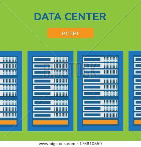 Data center and hosting banners set. Network internet database