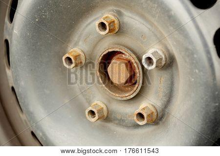 used car wheel on a car close up