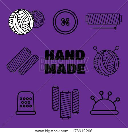 Handmade black thin line icons on white background. Handmade workshop logo set