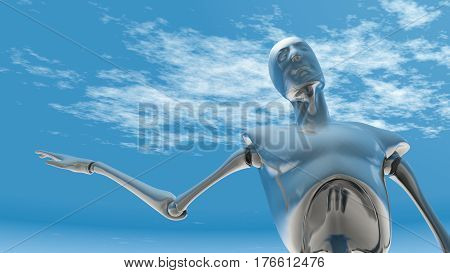 A future chrome robot in a position of presenting 3D Illustration.