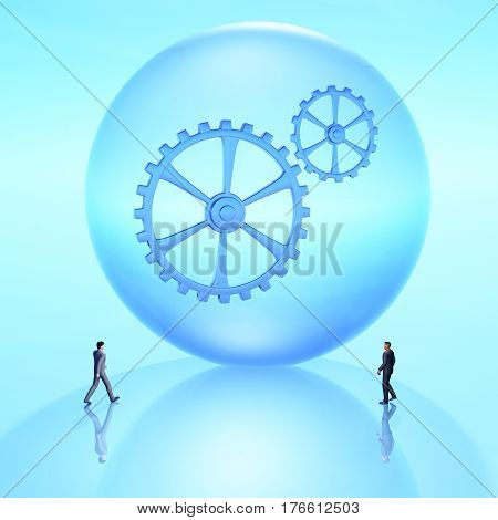 Giant future crystal ball with gears and business people coming together 3D Illustration.