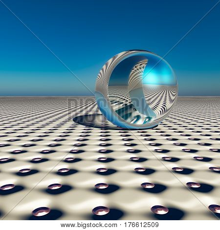 A dimple pattern horizon with an abstract surreal chrome sphere of the future 3d Illustration.