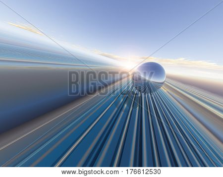 An abstract future horizon grid background with sphere 3D Illustration.