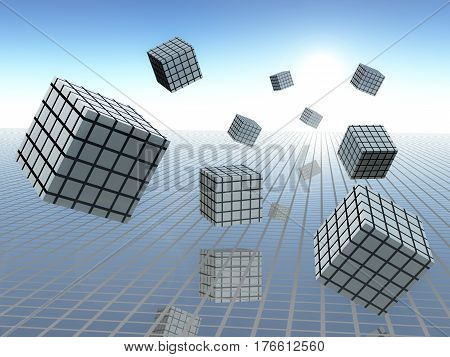 Grid plane on horizon sky with abstract cube graphs in motion 3d Illustration.