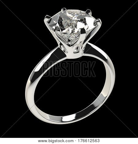 Isolated diamond ring against black 3D Illustration.