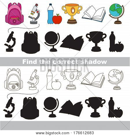 School janitor set with shadows to find the correct one. Compare and connect objects and their true shadows.