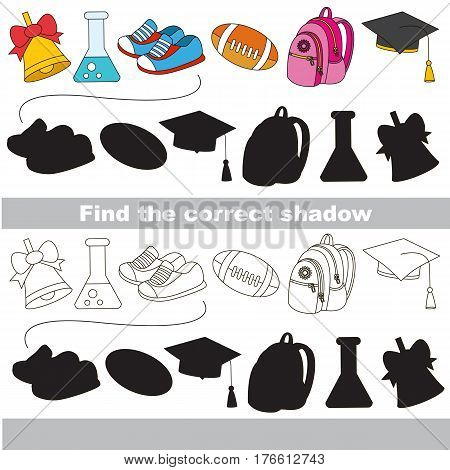 School tools set with shadows to find the correct one. Compare and connect objects and their true shadows.