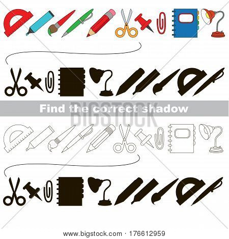 Set of school tools with shadows to find the correct one. Compare and connect objects and their true shadows. Easy educational kid gaming. Simple level of difficulty. Logic game for preschool children.