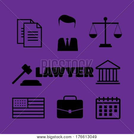 Lawyer concept. Lawyer icons black. Lawyer sign and symbol