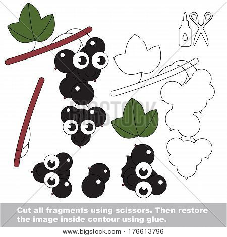 Use scissors and glue and restore the picture inside the contour. Easy educational paper game for kids. Simple kid application with Blackcurrant