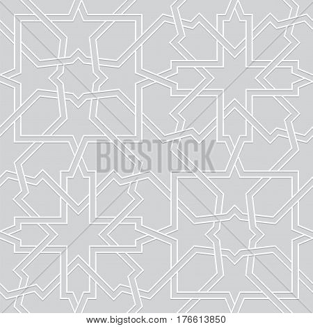 Islamic pattern. Interlaced seamless vector geometric white grey background in arabic style