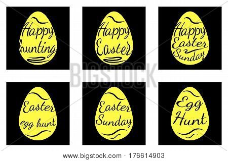 A set of black and yellow easter eggs decorated with text. Vector Illustration. Inscription Happy Easter