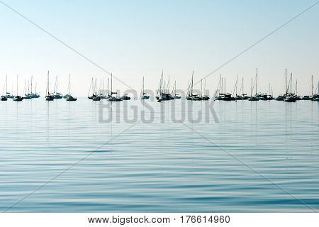 Fishing boats and yachts by the coast of of San Pedro del Pinatar coast, Spain