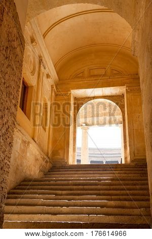 Stairs and entrance to the courtyard of Alhambra palace, Granada, Spain