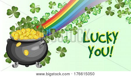 Vector card for St. Patrick's Day with a pot of gold coins rainbow and shamrocks. On a gradient background