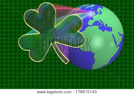 3D Illustration. A earth globe with a shamrock popping out of Ireland with a rainbow