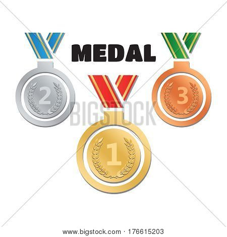 Set of gold medals silver medals and bronze medals