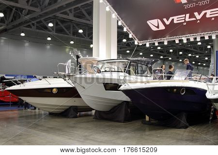 MOSCOW - MARCH 09 2017: Boats Velvette for 10 International boat show in Moscow. Russia.