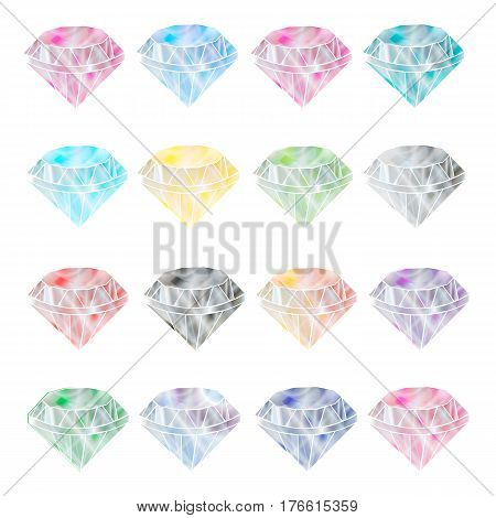 Gems icon gems ruby sapphire emerald brilliant diamond aquamarine. Flat design vector vector.