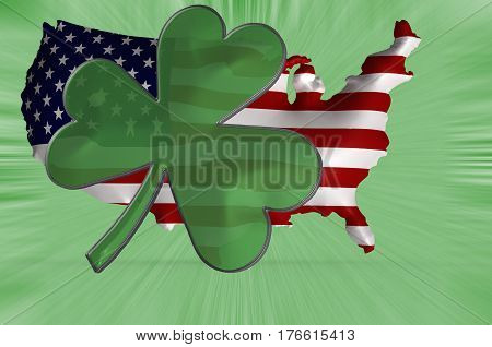 3D Illustration. A shamrock displayed against an Anerican flag super embossed on the shape of America