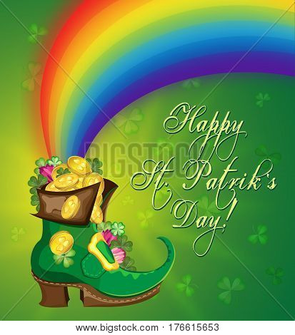 Vector greetings card for St. Patrick's Day. Leprechaun's boot with coins and a rainbow on a background of trefoils and a gradient.