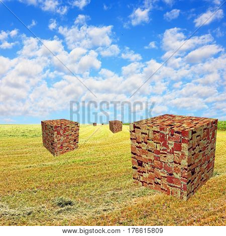 Cube shape brick stacks on yellow field against blue cloudy sky.Total urbanization concept.