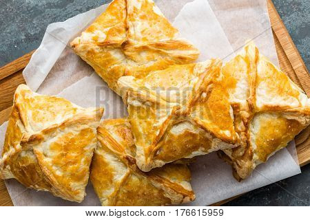 Crunchy puff pastry pies homemade baking top view