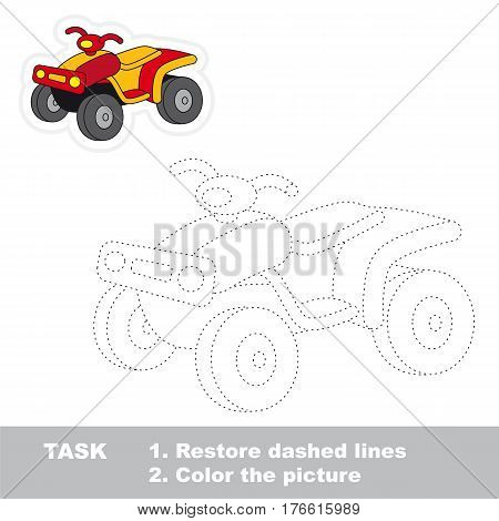 Restore dashed line and color the picture, the educational vector game for kids with easy game level. Simple kid tracing worksheet with Quad Bike.