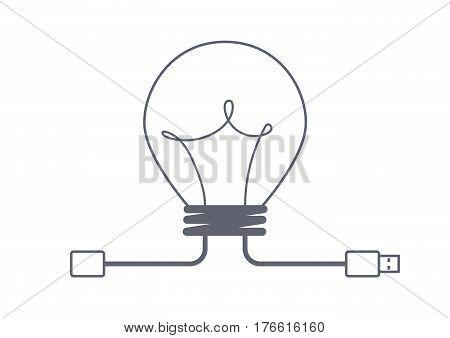 share idea concept with usb, creative idea, business idea concept, creative design, vector illustration