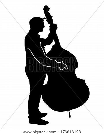 black silhouette vector of a musician playing a big cello isolated on white background
