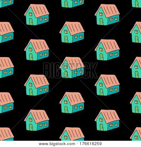 Cartoon doodle pattern with hand drawn houses. Cute vector colorful doodle pattern. Seamless cheerful doodle pattern for fabric, wallpapers, wrapping paper, cards and web backgrounds.